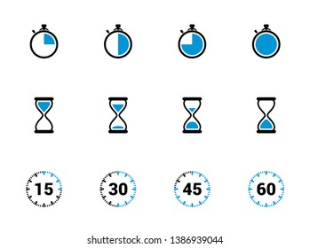 Time icon, Clock sign. Timer symbol. Stopwatch icon set. Alarm icon. Deadline. Hourglass, Sandglass. Time check. Seconds, minutes, hours. Quarter 15, half 30, three quarter 45, 60