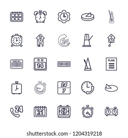 Time icon. collection of 25 time outline icons such as alarm, 24 hours support, calendar, metronome, 14 date calendar, plan, sundial. editable time icons for web and mobile.