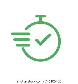Time icon. Fast time vector icon on white background. Outline clock icon