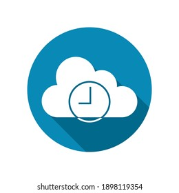 time icon on cloud. isolated on white background. vector illustration