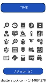 time icon set. 25 filled time icons.  Collection Of - Sandclock, History, Calendar, Money, Agenda, Manager, Scoreboard, Big ben, Strategy, Alarm, Seo, Stop watch, Clock, Stopwatch