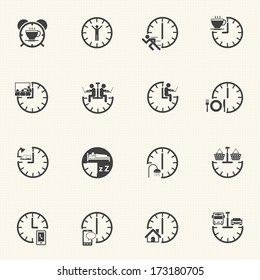 Time icon set, Daily routine