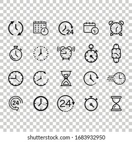 Time icon set in flat style. Agenda clock vector illustration on white isolated background. Sandglass, wristwatch timer business concept.