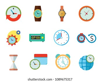Time Icon Set. Time Is Money Time Management Calendar Time World Alarm Clock Sandglass Round-the-clock Sign Electronic Alarm Clock Wristwatch