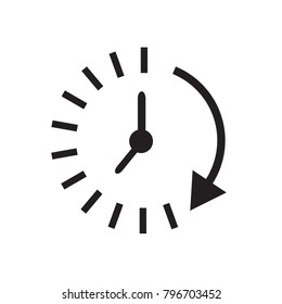 Time icon. Time and watch, timer symbol. UI. Web. Logo. Sign Flat design App Stock. Passage of time icon.