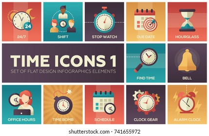 Time icons - modern set of flat design infographics elements. Colorful images of shift, stop watch, due date, hourglass, find time, bell, office hours, time bomb, schedule, clock gear, alarm