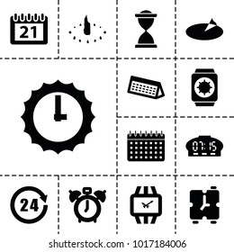 Time icons. set of 13 editable filled time icons such as clock alarm, calendar, 24 hours, wrist watch, sundial, wrist watch with sun, digital clock, alarm