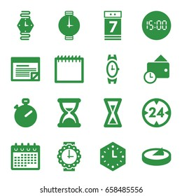 Time icons set. set of 16 time filled icons such as wrist watch, calendar, calendar 7 date, wallet, plan, wall clock, wrist watch for woman, sundial, 24 hour, hourglass