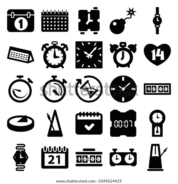 Time Icons Set 25 Editable Filled Stock Vector (Royalty Free