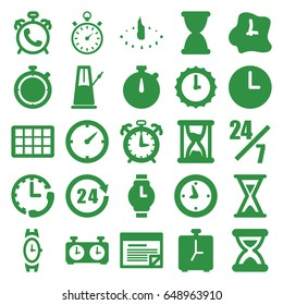 Time icons set. set of 25 time filled icons such as alarm, wrist watch, clock, 24 hours, stopwatch, plan, hourglass, wall clock, sundial, calendar, pendulum