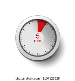 Time interval of 10 minutes, isolated on a white background, with good detail in the form of shadows and a time interval (red color) vector illustration. 10-minute break, Time interval