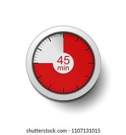 Time interval of 45 minutes, isolated on a white background, with good detail in the form of shadows and a time interval (red color) vector illustration.  45-minute break