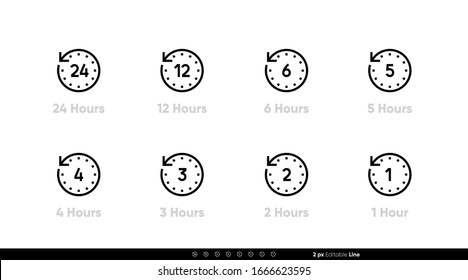 Time interval clock icons 24, 12, 6, 5, 4, 3, 2, 1 hours. Vector editable line