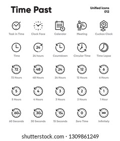 Time Lapse and Clock Vector Line Icons on white background. Cuckoo Clock, 24 hours, Meeting, Task in Time. Pixel Perfect