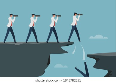 Time lapse illustration of a Businessman falling  from a cliff while looking though a binocular to find long target