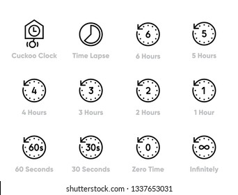 Time Lapse and Past Editable Thin Line Icons.
