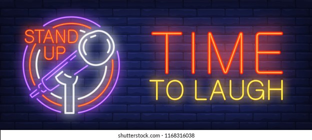 Time to laugh neon sign. Glowing Stand up and mike in circle frame on brick background. Night bright advertisement. Vector illustration in neon style for stand up, concert and performance