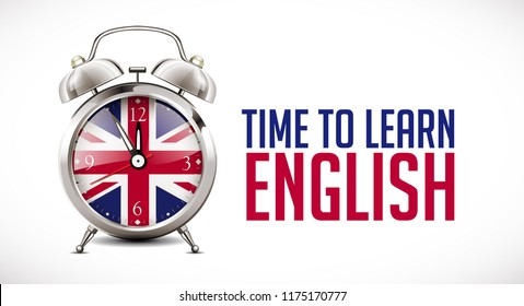 Time to learn english - Alarm clock with british flag on clock face - learning concept