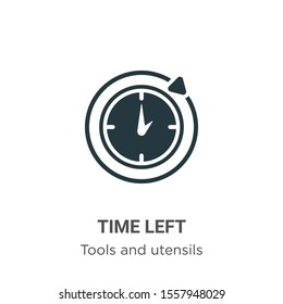 Time left vector icon on white background. Flat vector time left icon symbol sign from modern tools and utensils collection for mobile concept and web apps design.