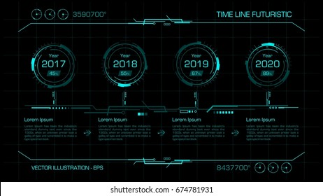 Time line futuristic. Hud interface, info graphic. Vector illustration