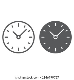 Time line and glyph icon, clock and minute, hour sign, vector graphics, a linear pattern on a white background, eps 10.