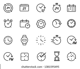 Time line icon set, schedule and data symbol. Past, present, and future, business design decor. Vector time line art illustration