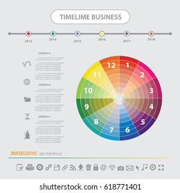 Time line info graphics design template vector icons set