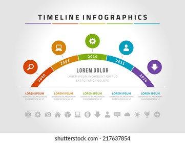 Time line infographic and icons vector design template.  For web design, time line and work flow layout.