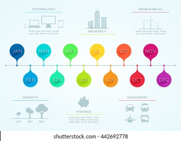 Time Line January To December Vector Infographic