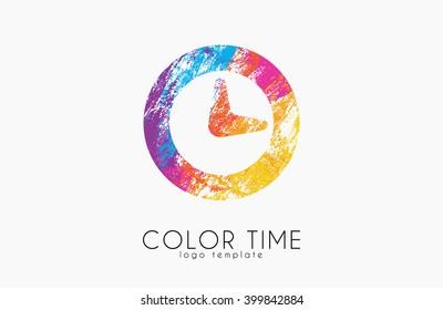 Time logo. Color time logo design. Clock design. Creative logo