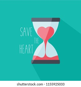 time for love icon concept creative cartoon isolated. break up & sorry card. run out. hurry up symbol. sandglass vector & heart flow in hourglass. valentines day sign. countdown measurment flat design