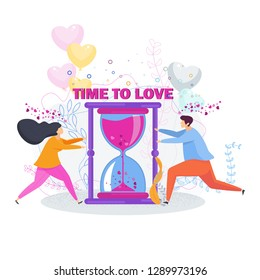Time to love. A loving couple girl and boyfriend meet each other for a passionate kiss and tender hugs. Date and relationship. Characters for a greeting card for Valentine Day.