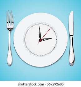 the time lunch, cutlery, dish knife and fork