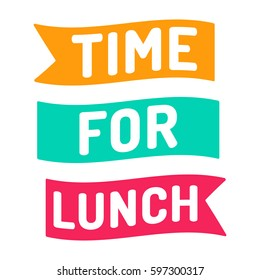 Time for lunch. Flat vector ribbon icon, symbol, design illustration on white background.