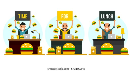 Time for lunch. Set of cartoon businessmen in the workplace in flat style. Vector illustration isolated on white background.