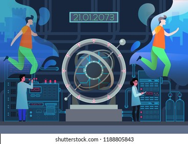 Time machine at laboratory. Jogging man teleports from past to future, scientists making teleportation of people to parallel universe, gate or tunnel, portal for time vortex.Travelling in time, sci-fi