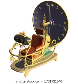Time Machine Vector 07. Illustration Isolated On White Background. A Vector Illustration Of Time Machine Background.