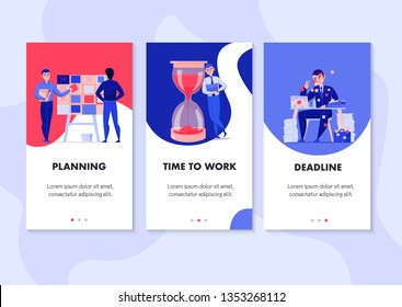 Time management 3 flat vertical banners set with task planning deadline stress hourglass symbols isolated vector illustration