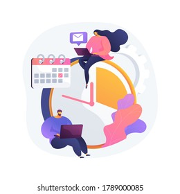 Time management abstract concept vector illustration. Time tracking tool, management software, effective planning, productivity at work, clock, control system, project schedule abstract metaphor.