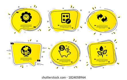 Time management, Bitcoin coin and Magistrates court icons simple set. Yellow speech bubbles with dotwork effect. Medical tablet, Refresh and Plants watering signs. Vector