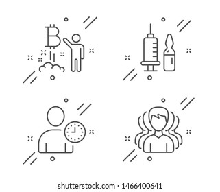 Time management, Bitcoin project and Medical vaccination line icons set. Group sign. User with clock, Cryptocurrency startup, Syringe vaccine. Headhunting service. Business set. Vector