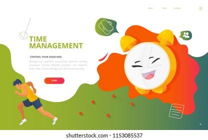 Time management burnout and workload concept vector illustration. Time Deadline Management site landing page wireframe, workflow report presentation template.