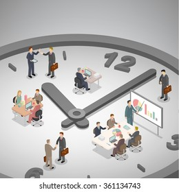 Time management business concept. Group of businessman working on a big clock. Isometric illustration vector.