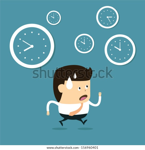 Time Management Cartoon Businessman Running Stock Vector Royalty Free 156960401
