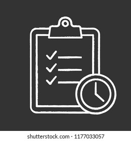 Time management chalk icon. Task planning. Deadline. Tasks list. Isolated vector chalkboard illustration