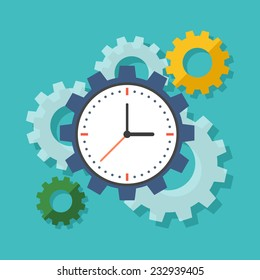 Time management concept. Colorful flat design icon.  Vector illustration