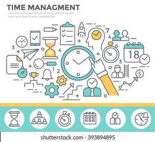 Time management concept illustration, thin line flat design