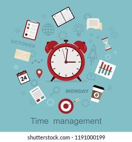 Time management concept planning, organization, working time. Vector illustration. Flat design.