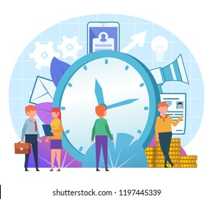 Time management concept. Small people stand near big watches. Poster for web page, banner, social media, presentation. Flat design vector illustration