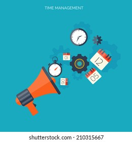 Time management concept. World time. Business background. Internet marketing. Daily infographic.